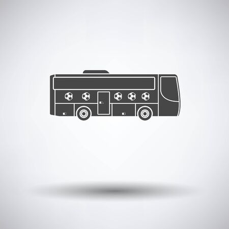football fan: Football fan bus icon on gray background, round shadow. Vector illustration.