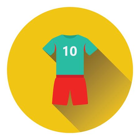 soccer team: Icon of football uniform. Flat color design. Vector illustration.
