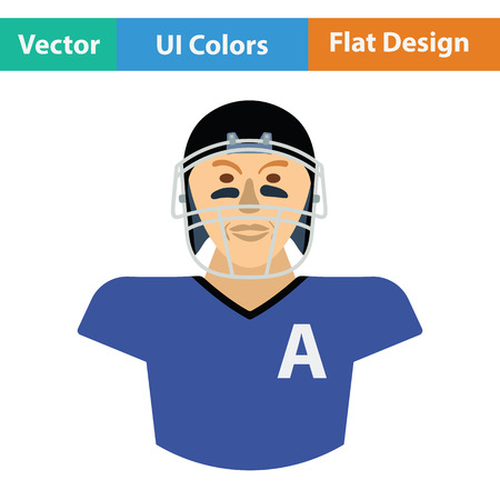 football player: American football player icon. Flat color design. Vector illustration. Illustration