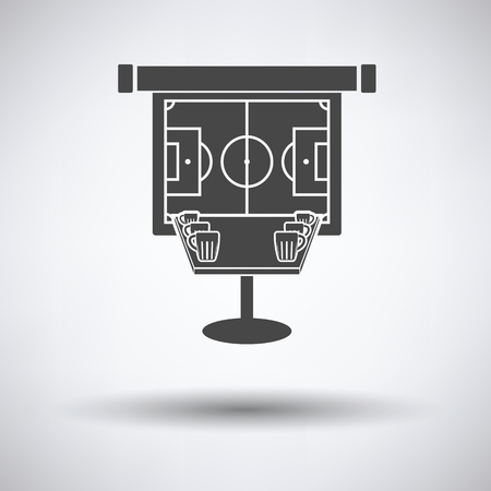 projection screen: Sport bar table with mugs of beer and football translation on projection screen icon on gray background, round shadow. Vector illustration.