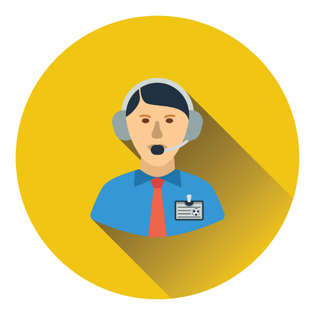 commentator: Icon of football commentator. Flat color design. Vector illustration.