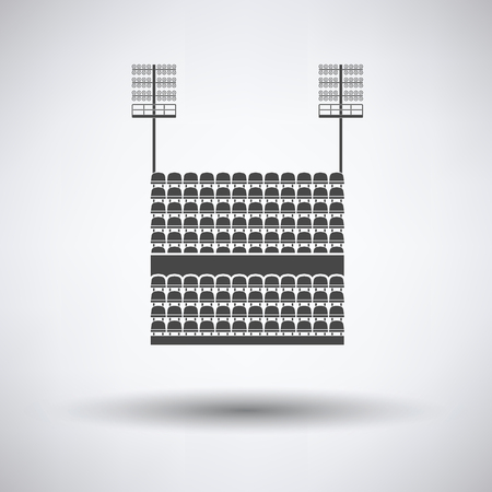 outdoor seating: Stadium tribune with seats and light mast icon on gray background, round shadow. Vector illustration. Illustration