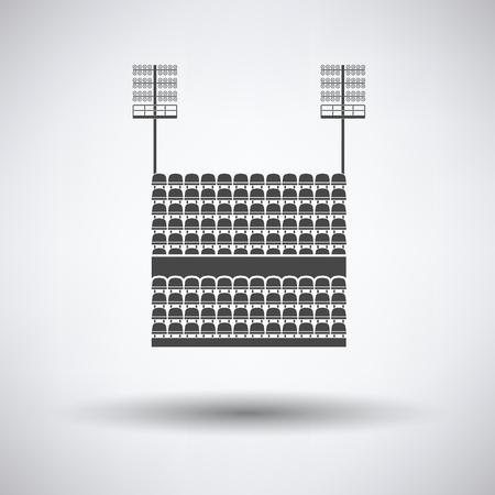 ligh: Stadium tribune with seats and light mast icon on gray background, round shadow. Vector illustration. Illustration