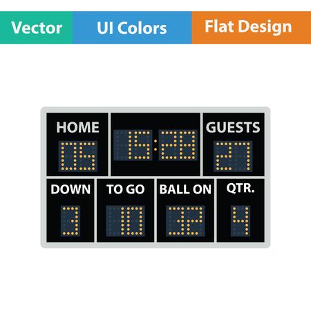 score board: American football scoreboard icon. Flat color design. Vector illustration.