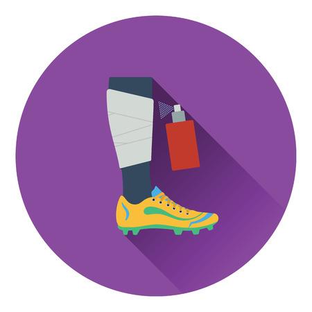 anesthetic: Icon of football bandaged leg with aerosol anesthetic. Flat color design. Vector illustration. Illustration