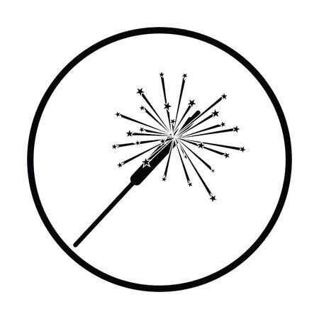 bengal light: Party sparkler icon. Thin circle design. Vector illustration.