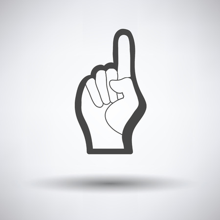foam hand: Fan foam hand with number one gesture icon on gray background, round shadow. Vector illustration.