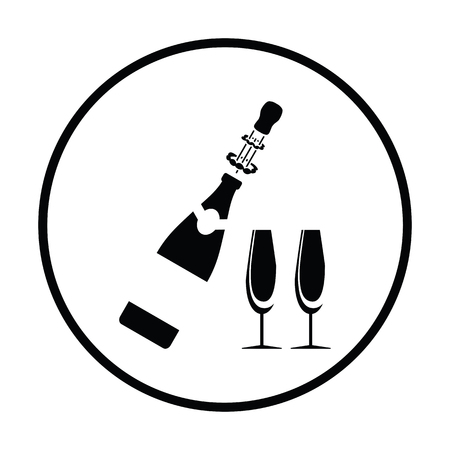 clink: Party champagne and glass icon. Thin circle design. Vector illustration.