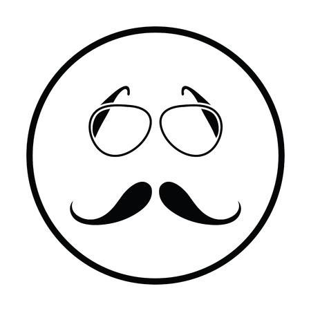burly: Glasses and mustache icon. Thin circle design. Vector illustration.