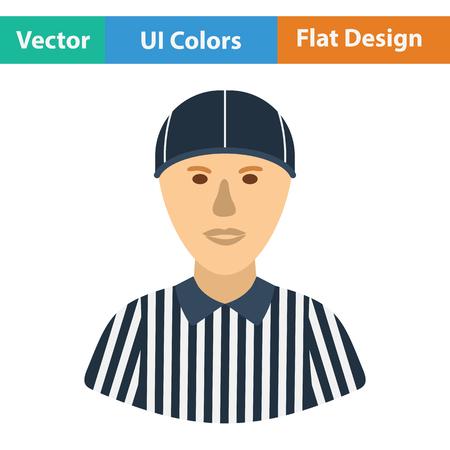 linesman: American football referee icon. Flat color design. Vector illustration. Illustration