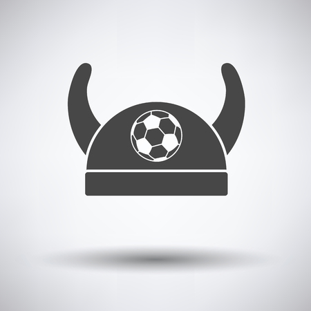 horned: Football fans horned hat icon on gray background, round shadow. Vector illustration.