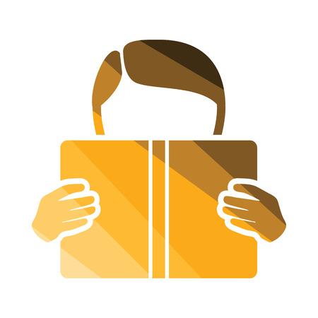 single story: Boy reading book icon. Flat color design. Vector illustration. Illustration