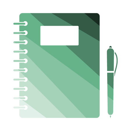 exercise book: Exercise book with pen icon. Flat color design. Vector illustration.