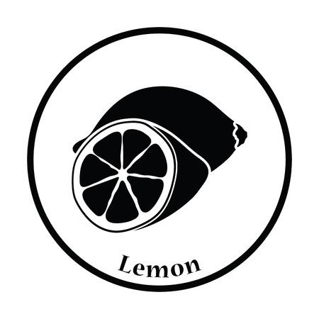citrous: Icon of Lemon. Thin circle design. Vector illustration. Illustration
