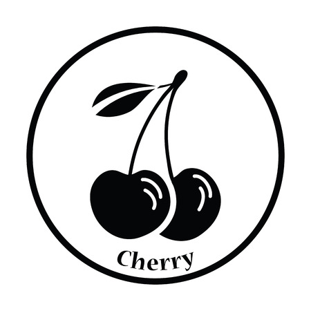 drupe: Icon of Cherry. Thin circle design. Vector illustration.