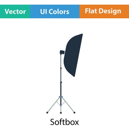 softbox: Icon of softbox light. Flat color design. Vector illustration.