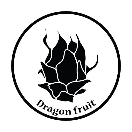 dragon fruit: Icon of Dragon fruit. Thin circle design. Vector illustration.