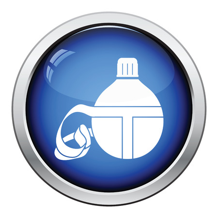 touristic: Touristic flask  icon. Glossy button design. Vector illustration.