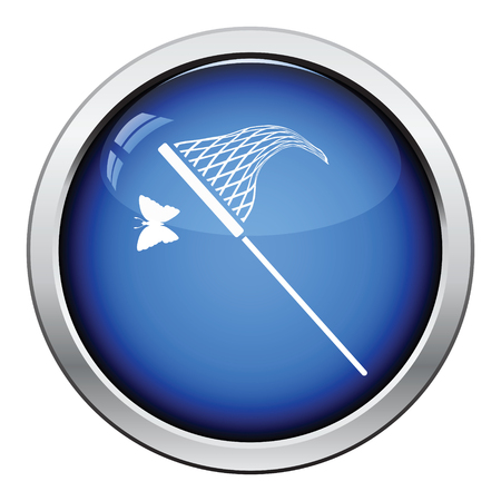 butterfly net: Butterfly net  icon. Glossy button design. Vector illustration. Illustration