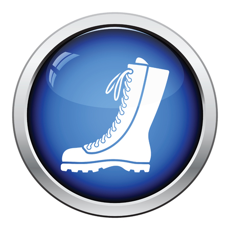 hiking boot: Hiking boot icon. Glossy button design. Vector illustration. Illustration