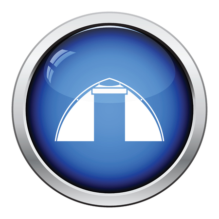 refuge: Touristic tent  icon. Glossy button design. Vector illustration. Illustration