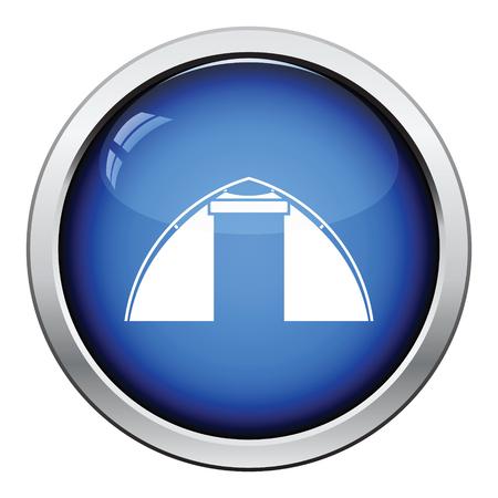 touristic: Touristic tent  icon. Glossy button design. Vector illustration. Illustration