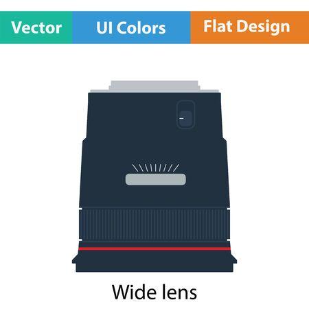 stabilizer: Icon of photo camera wide lens. Flat color design. Vector illustration. Illustration
