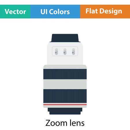 stabilizer: Icon of photo camera zoom lens. Flat color design. Vector illustration. Illustration