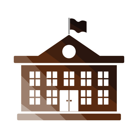 building color: School building icon. Flat color design. Vector illustration. Illustration