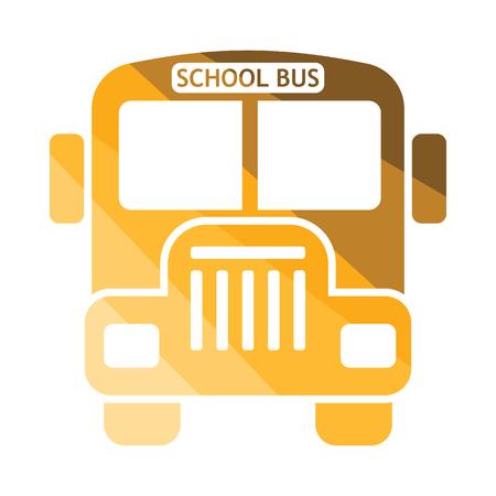school icon: School bus icon. Flat color design. Vector illustration.