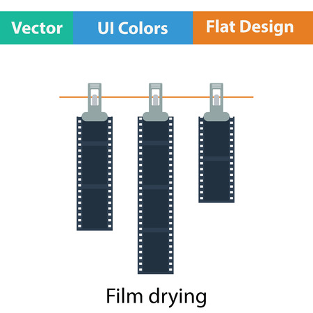 film title: Icon of photo film drying on rope with clothespin. Flat color design. Vector illustration.