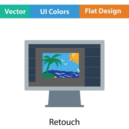 monitor screen: Icon of photo editor on monitor screen. Flat color design. Vector illustration.