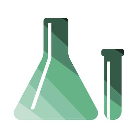 medical symbols: Chemical bulbs icon. Flat color design. Vector illustration.