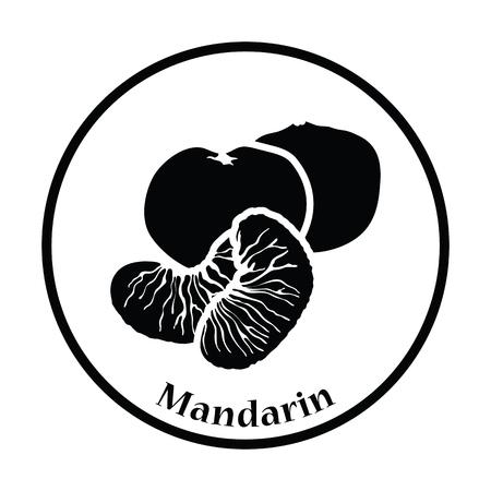 mandarin: Icon of Mandarin. Thin circle design. Vector illustration.
