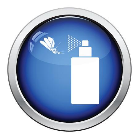 pandemic: Mosquito spray icon. Glossy button design. Vector illustration. Illustration