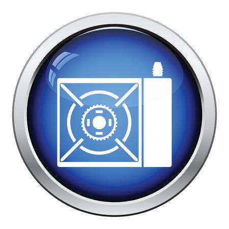 travel burner: Camping gas burner stove icon. Glossy button design. Vector illustration. Illustration