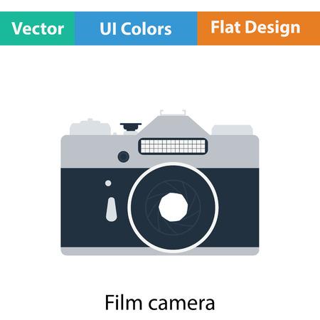 retro color: Icon of retro film photo camera. Flat color design. Vector illustration.