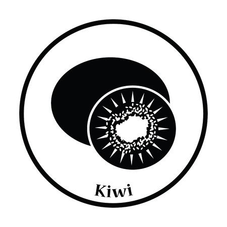 actinidia deliciosa: Icon of Kiwi. Thin circle design. Vector illustration.