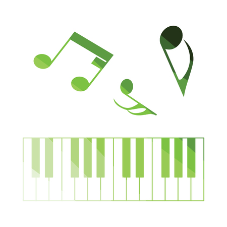 octaves: Piano keyboard icon. Flat color design. Vector illustration. Illustration