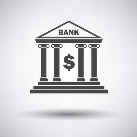 light columns: Bank icon on gray background, round shadow. Vector illustration. Illustration