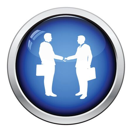 acknowledgment: Meeting businessmen icon. Glossy button design. Vector illustration.
