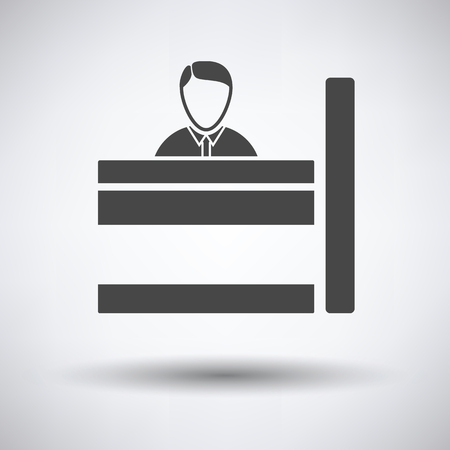 a bank employee: Bank clerk icon on gray background, round shadow. Vector illustration.