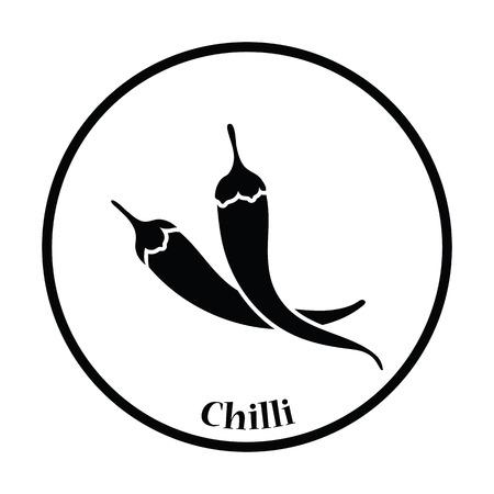chili pepper: Chili pepper icon. Thin circle design. Vector illustration.