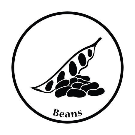 circle background: Beans  icon. Thin circle design. Vector illustration. Illustration
