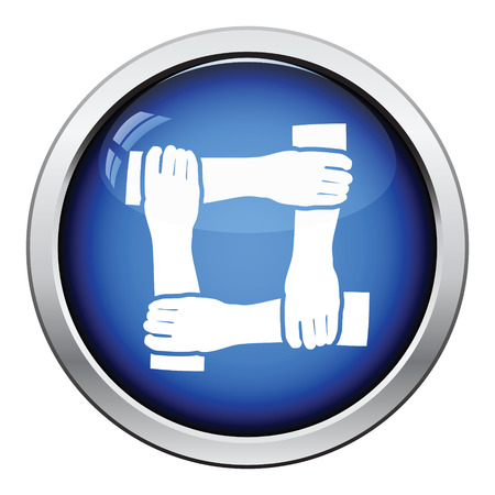 job functions: Crossed hands icon. Glossy button design. Vector illustration.