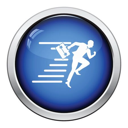 accelerating: Accelerating businessman icon. Glossy button design. Vector illustration.