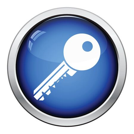 circle icon: Key icon. Glossy button design. Vector illustration.