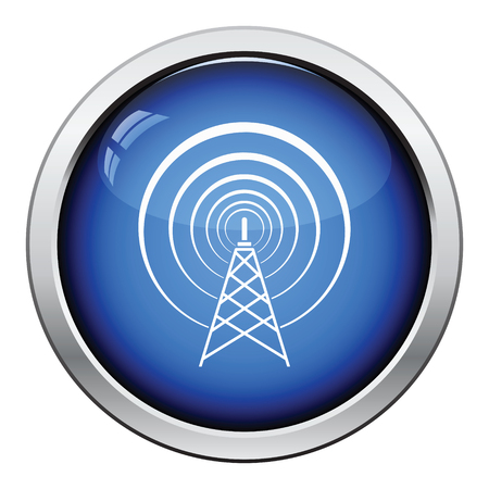 Radio: Radio antenna icon. Glossy button design. Vector illustration.