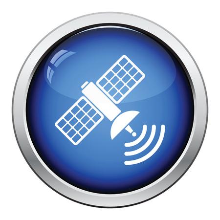 transponder: Satellite icon. Glossy button design. Vector illustration.