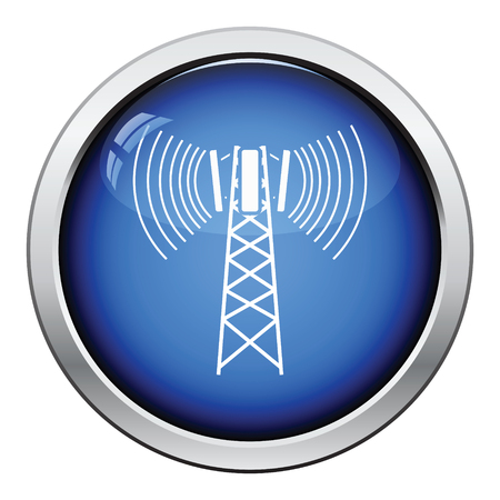 cellular: Cellular broadcasting antenna icon. Glossy button design. Vector illustration.